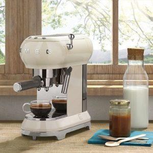 Smeg-ECF01RDUS-espresso-machine-cream-color-rounded-edges-beautiful-on-the-countertop
